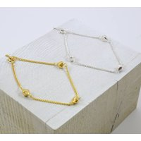 Faceted Silver And Gold Charm Bracelet, Silver
