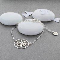 Large Sterling Silver Compass Bracelet, Silver