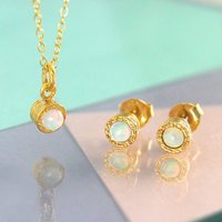 Gold Opal Birthstone Earrings And Necklace Set, Gold