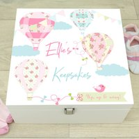 Large Balloon White Wooden Baby Memory Box