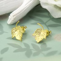 Gold Plated Sterling Silver Ivy Leaf Earrings, Silver