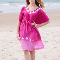 Pink Luxury Silk Hand Embroidered Kaftan