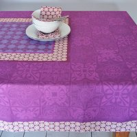 Luxury Pattern Cotton Tablecloth, Grey/Aqua/Green