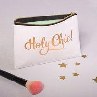 'Holy Chic!' Gold Make Up Bag, Mint/Copper/Coral