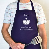 Personalised King Of The BBQ  Apron With Pocket