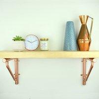 Reclaimed Scaffold Board Shelf With Copper Brackets
