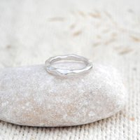 Textured Tidal Ring In Sterling Silver, Silver