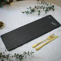 Midnight Stag Long Slate Serving Platter
