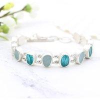 Aquamarine Apatite Gemstone Handmade Silver Bracelet, Silver