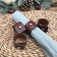 Set Of Mid Brown Leather Napkin Rings