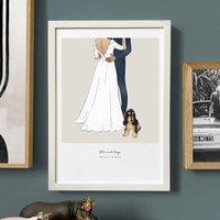 Bespoke Hand Illustrated Wedding Print, Unframed