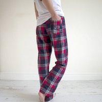Embroidered Personalised Tartan Pyjama Bottoms