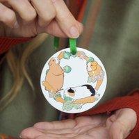 Guinea Pig Wreath Christmas Decoration Personalised