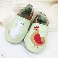 Personalised Hen And Rabbit Baby Shoes, Baby Pink/Pink/White