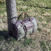 Front Pockets Waxed Canvas Holdall Weekender