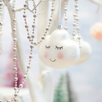 Dreamy Cloud Face Glass Christmas Tree Decoration