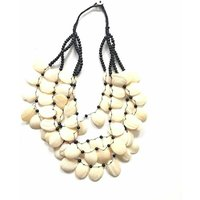Ladies Monochrome Beaded Necklace, Red/Cream