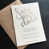 Rose Gold Foil Save Our Date Postcard
