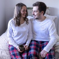 Personalised Embroidered Couples Heart Pyjamas