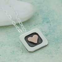 Personalised Gold Heart Square Pendant, Gold