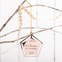 Personalised Rose Gold Christmas Pentagon Bauble