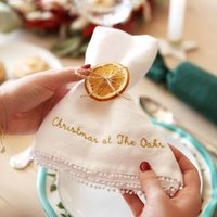 Personalised Embroidered White Linen Napkin