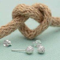 Sterling Silver Love Knot Stud Earrings, Silver