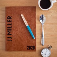 2020 Diary, Personalised, With Rich Italian Leather, Chocolate/Russet/Red