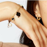 Smiley And Friends Enamel Charm Pearl Gold Bracelet, Gold
