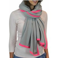 Personalised Grey Neon Pink Pure Cashmere Wrap Scarf