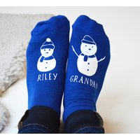 Personalised Snowman And Me Socks, Red/Black/Blue