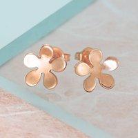 Flower Blossom Rose Gold Stud Earrings, Gold