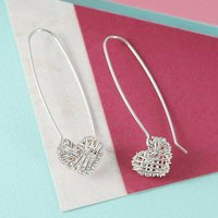 Silver Long Interwoven Heart Drop Earrings, Silver