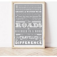 'A Road Less Travelled' University Student Gift Print, Coral/Rose/Spearmint