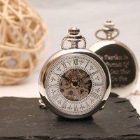 Ornate Personalised Skeleton Pocket Watch