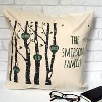 Personalised Family Trees With Hearts Cushion Cover