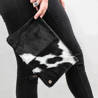 Black And White Natural Cowhide Clutch Bag