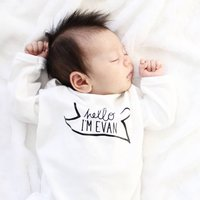 Personalised New Baby 'Hello I'm' Babygrow, White/Black/Pink