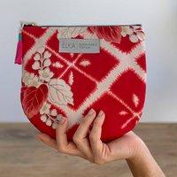 Red Cherry Blossom Vintage Kimono Pouch