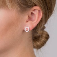 Crystal Circle Silver Plated Earrings, Silver