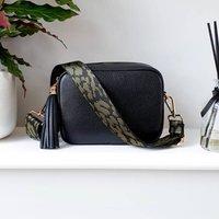 Black Leather Handbag With Interchangeable Strap