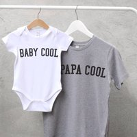 Papa Cool And Baby Cool T Shirt Set, Red/Kelly Green/Green