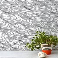 'Linear Waves' Wallpaper, Ocean Blue/Blue