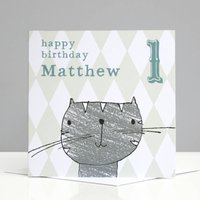 Personalised Cat Boy's Birthday Card