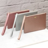 Personalised Luxury Leather Wrist Strap Clutch Bag