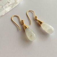 18 Kt Gold Vermeil Rainbow Moonstone Earrings, Gold