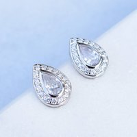 Pear Shaped Silver Pave Stud Earrings, Silver