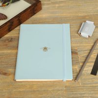 Recycled Leather Bee Address Book, Black/Gold/Cool Grey