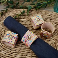 Hand Painted Leather Napkin Rings
