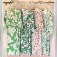 Vintage Style Summer Kimonos In Floral Print Silk Crepe